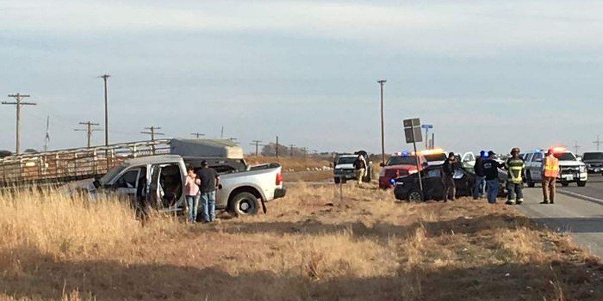 Collision involving car, truck, cattle trailer at Hwy 84 & FM 2378