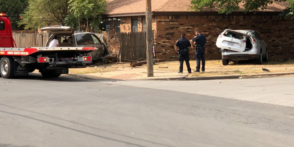 2 vehicles crash through fence near Central Lubbock home Tuesday morning