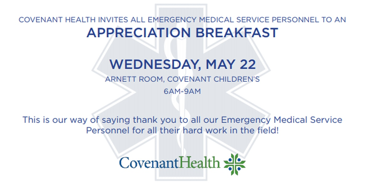 Covenant to host emergency medical professionals appreciation breakfast May 22