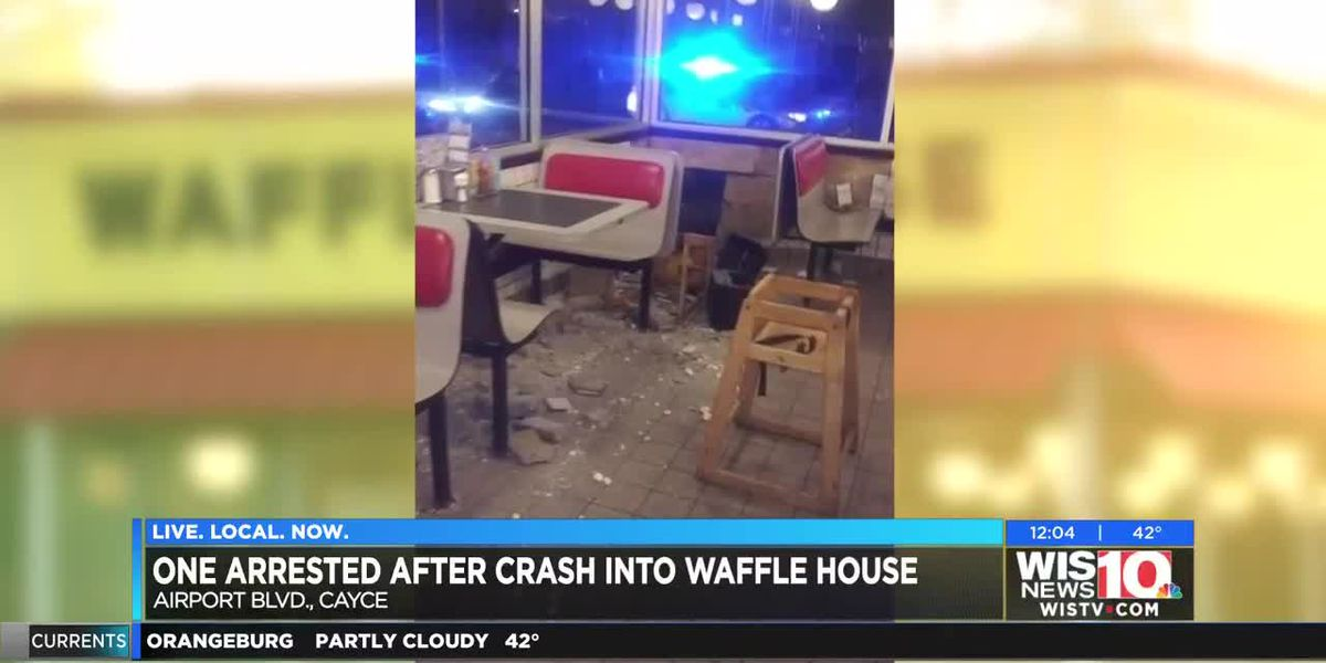 One arrested after crash into Waffle House