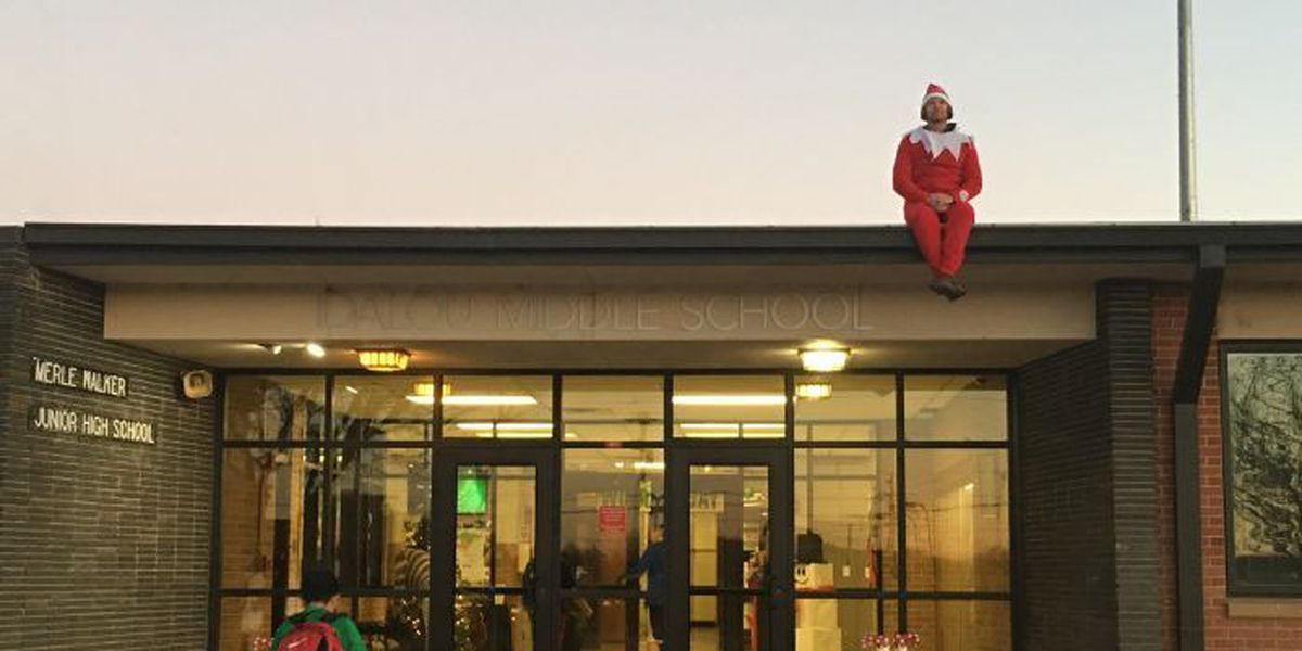 Elf greets students from roof of Idalou Middle School
