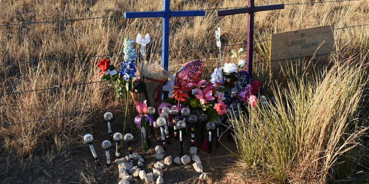 Family places memorial at site where missing elderly Bovina couple was found