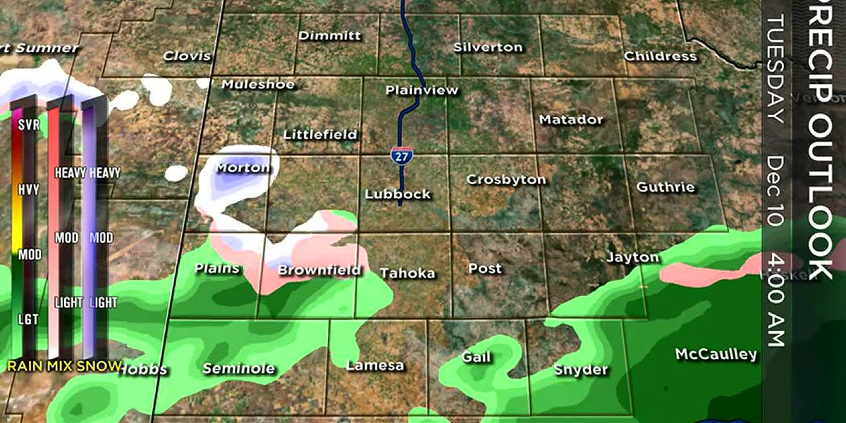 Cold front and low converging on West Texas. Showers likely and, for some, snow maybe