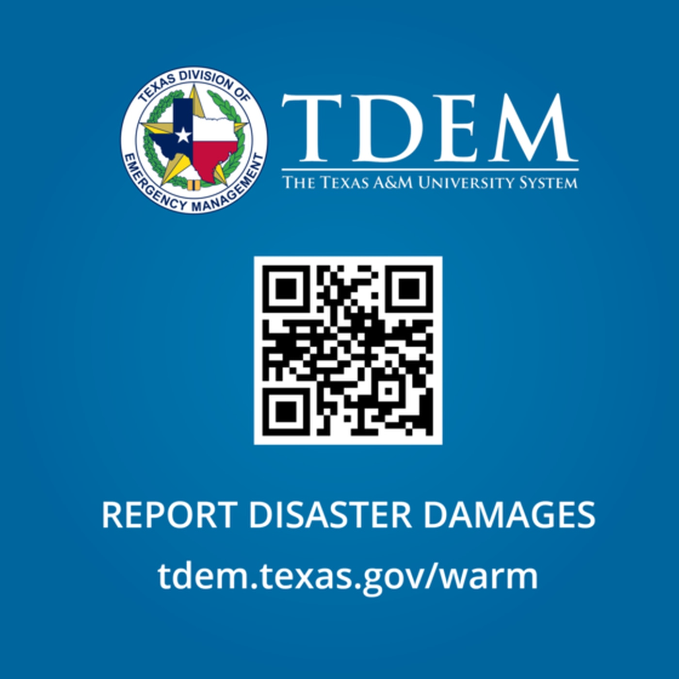 Governor Greg Abbott and the Texas Division of Emergency Management (TDEM) are encouraging Texans to complete the Self Reporting Damage Survey to help the state identify damages across Texas.