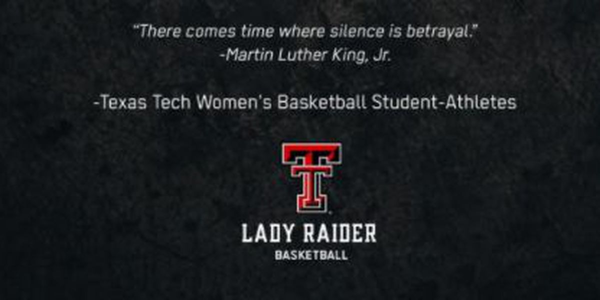 Texas Tech Women's Basketball team stands with protesting football players