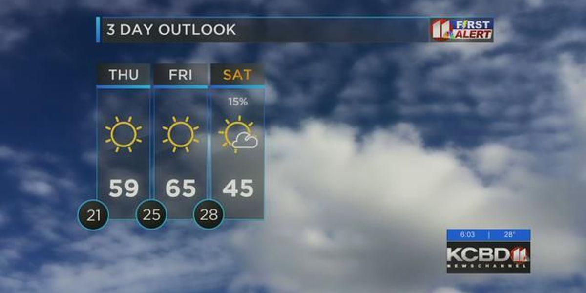 Cold tonight, warmer on Thursday