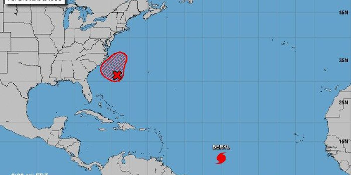 'Tiny' Hurricane Beryl strengthens; another storm may develop off NC coast