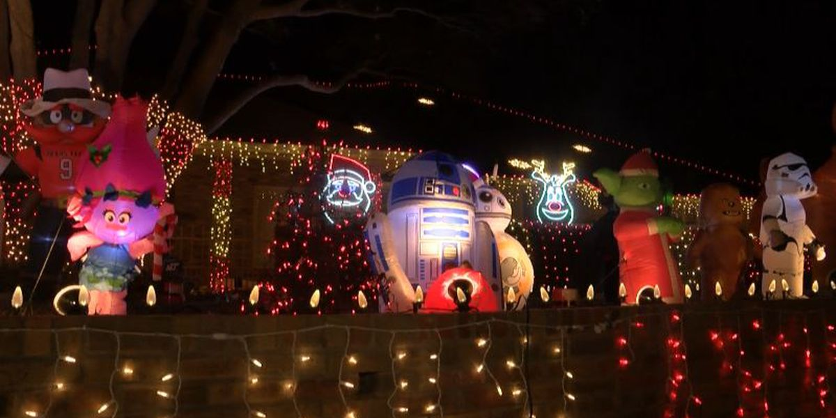 Extreme holiday decorations attract visitors for drive-by light show