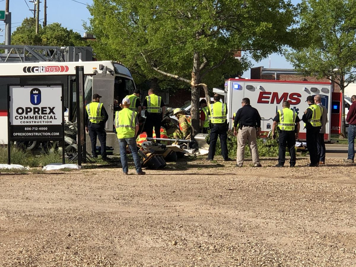 Police officer seriously injured in crash involving a Citibus in downtown Lubbock