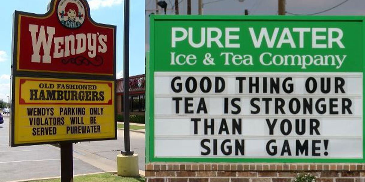WAR OF WORDS: Sign war between Pure Water & Wendy's