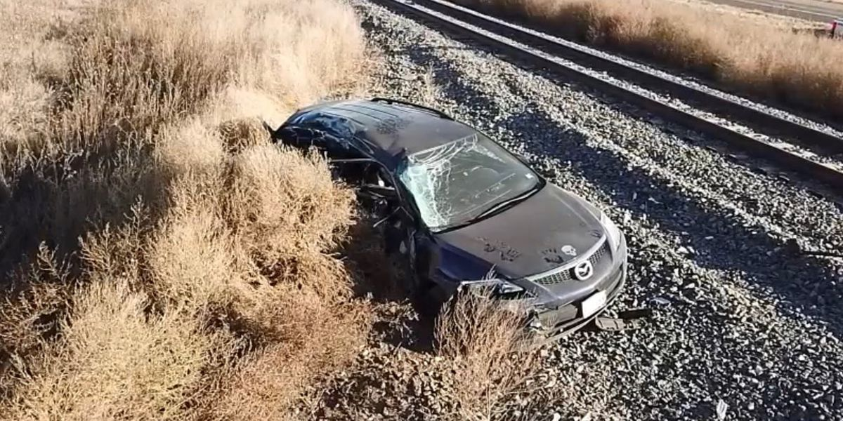2 arrested after high speed chase in Sherman County ends with train crashing into car