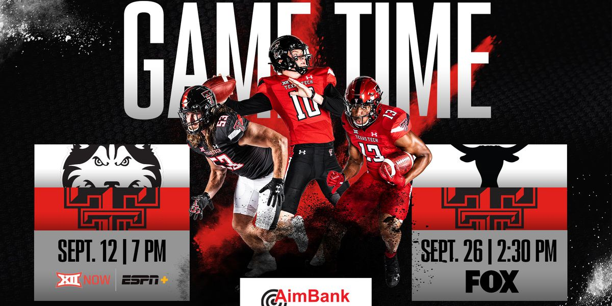 Texas Tech Football announces game times for first 2 home games