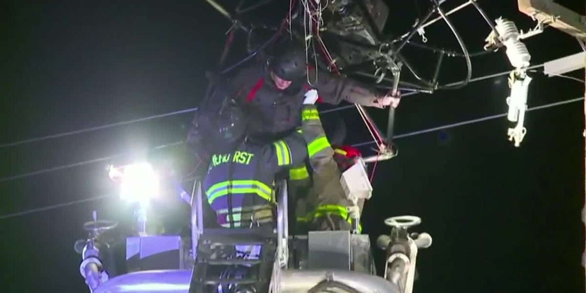 Crews rescue trapped paraglider hanging from power lines in California