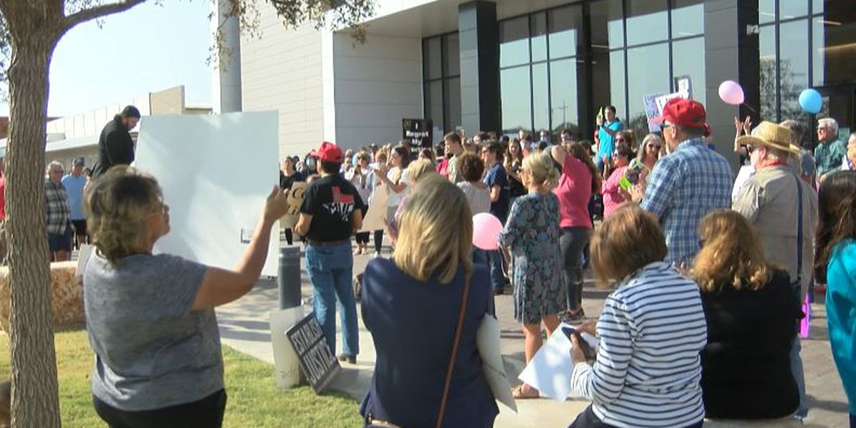 Gathering occurs outside of Citizens Tower to support ordinance outlawing abortions in city limits