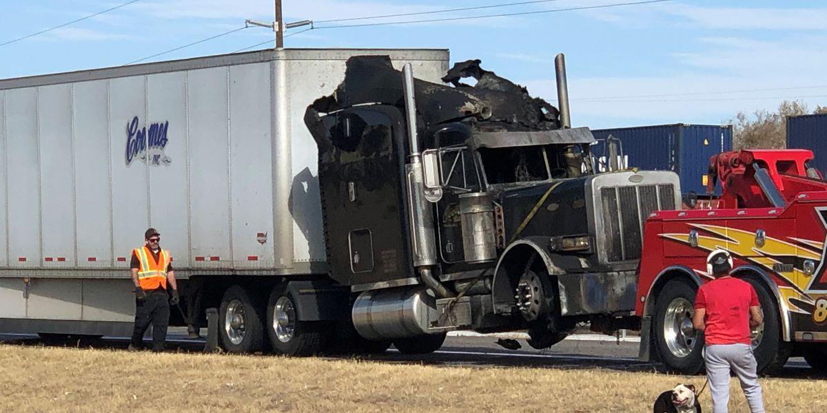 Semi truck hauling beans catches fire, causes traffic delays on Slaton Hwy.