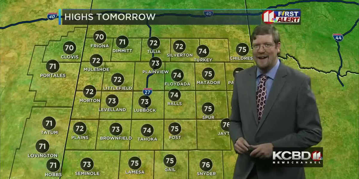 Warm and breezy on Sunday