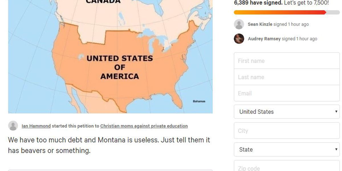 Petitioners want to sell Montana to Canada for $1 trillion