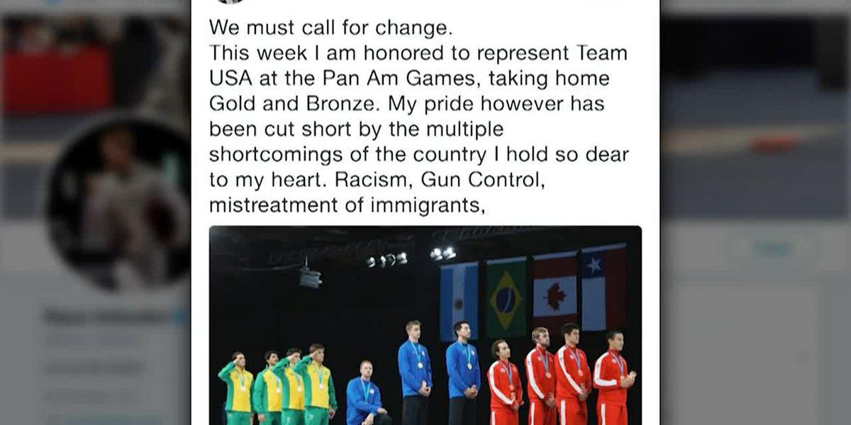 US fencing medalist Imboden kneels during anthem at Pan Am Games