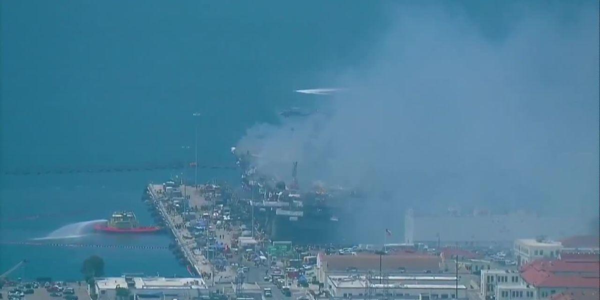 Sailors fighting to save burning San Diego warship
