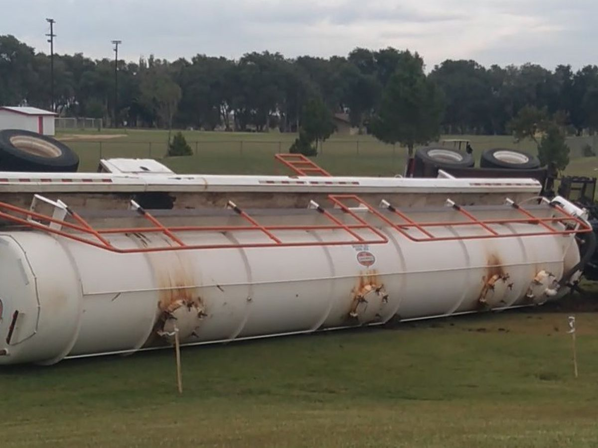 Out of control semi rolls over on Yoakum County Golf Course