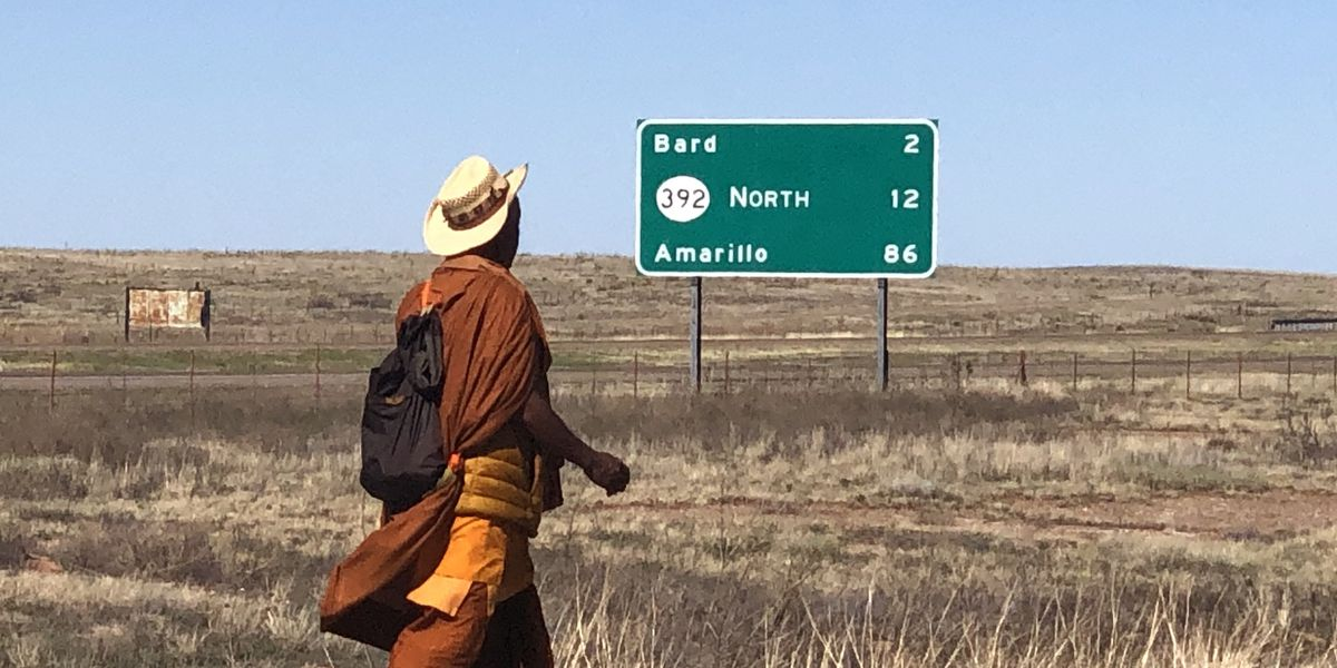 Buddhist Monk walking across America on Route 66 aims to spread message of peace