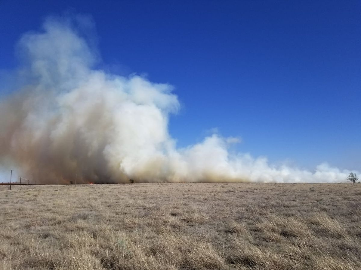 Levelland Fire Department fighting grass fire at Canada & Frankfurt RD