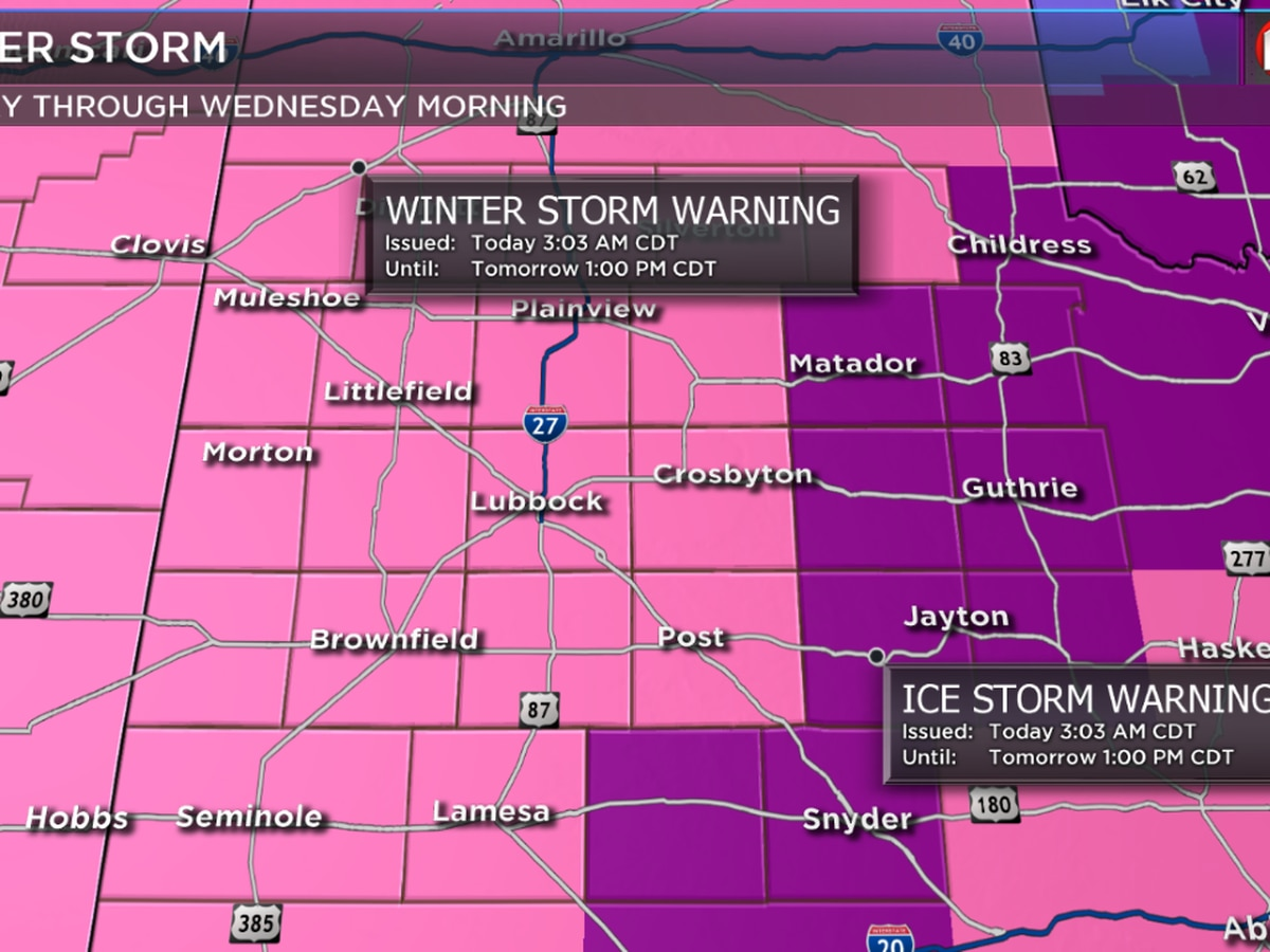 FIRST ALERT WEATHER DAY: Ice and Winter Storm Warnings for the South Plains