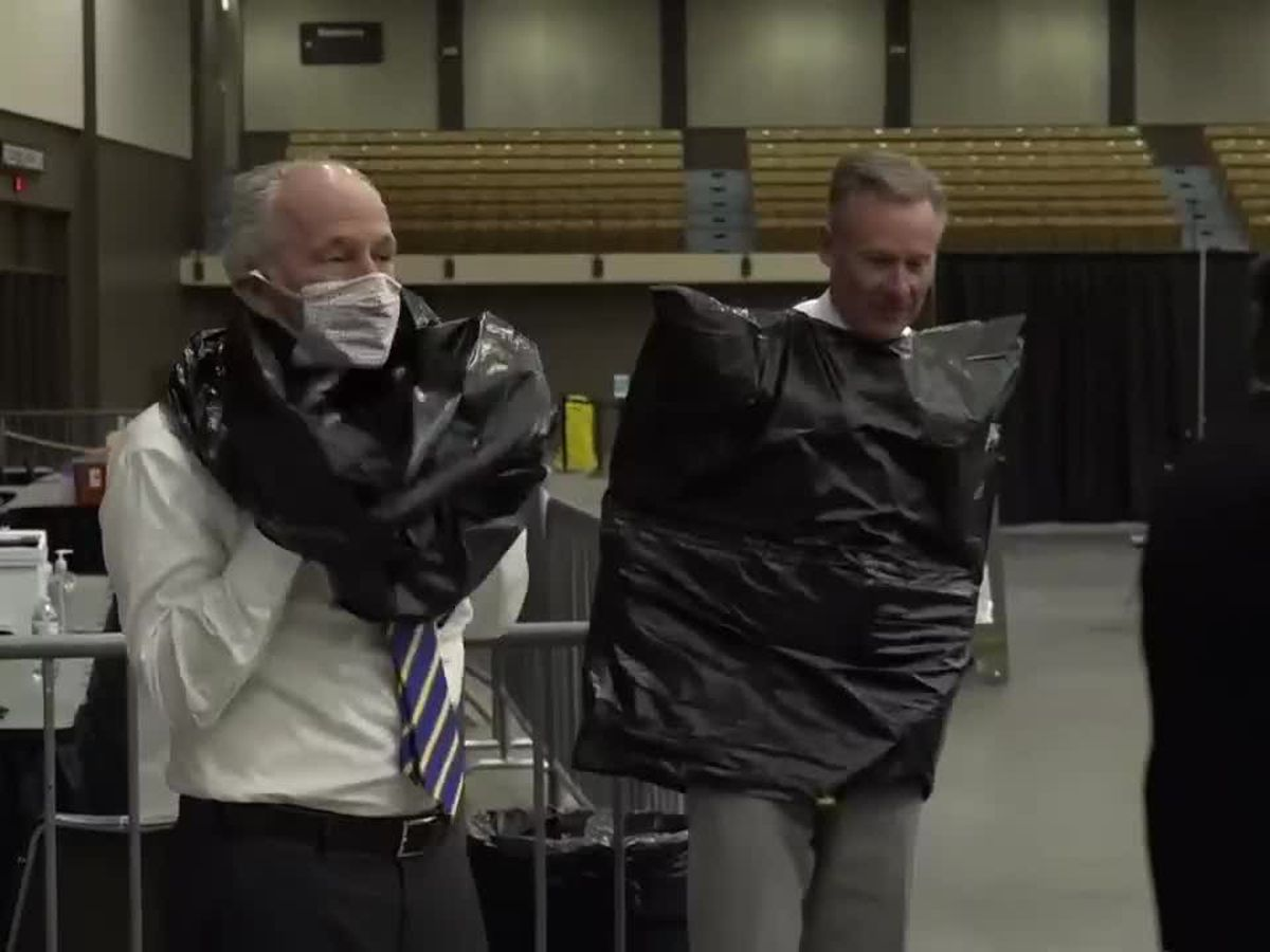 WATCH: 100,000 COVID-19 vaccines given in Lubbock, two city leaders to get pied in the face in celebration