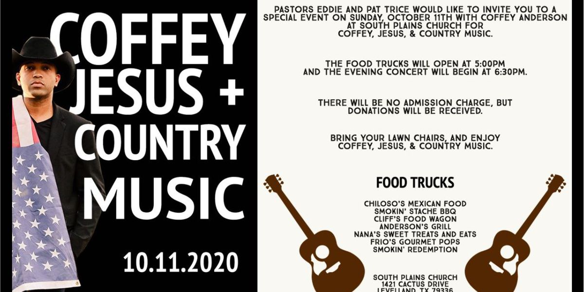 Coffey, Jesus + Country Music event on October 11