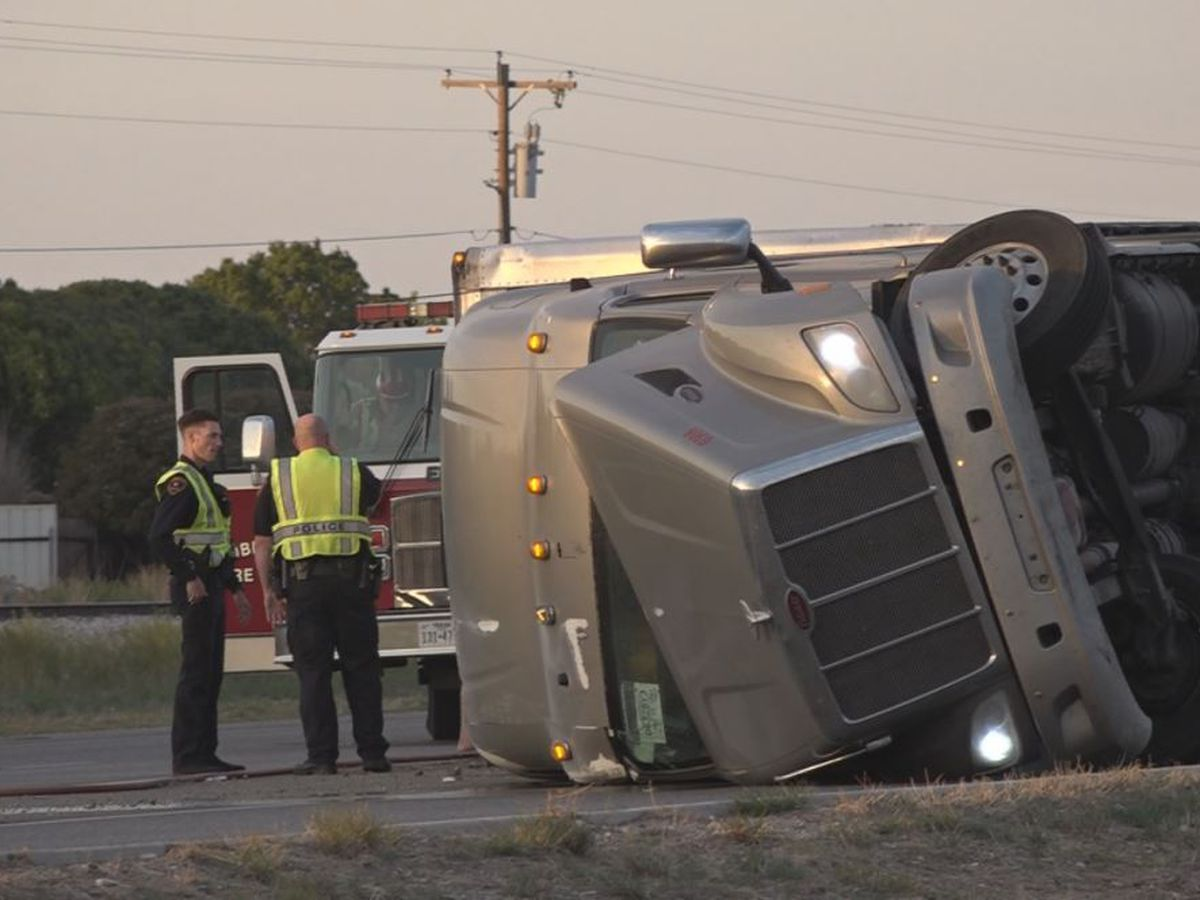 Semi overturned on Marsha Sharp Freeway, no serious injuries but traffic slowed