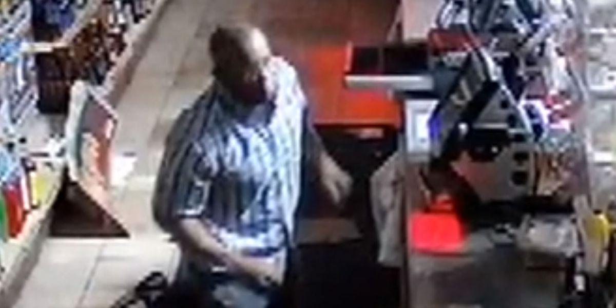 CAUGHT ON CAMERA: Man falls through ceiling in liquor store burglary