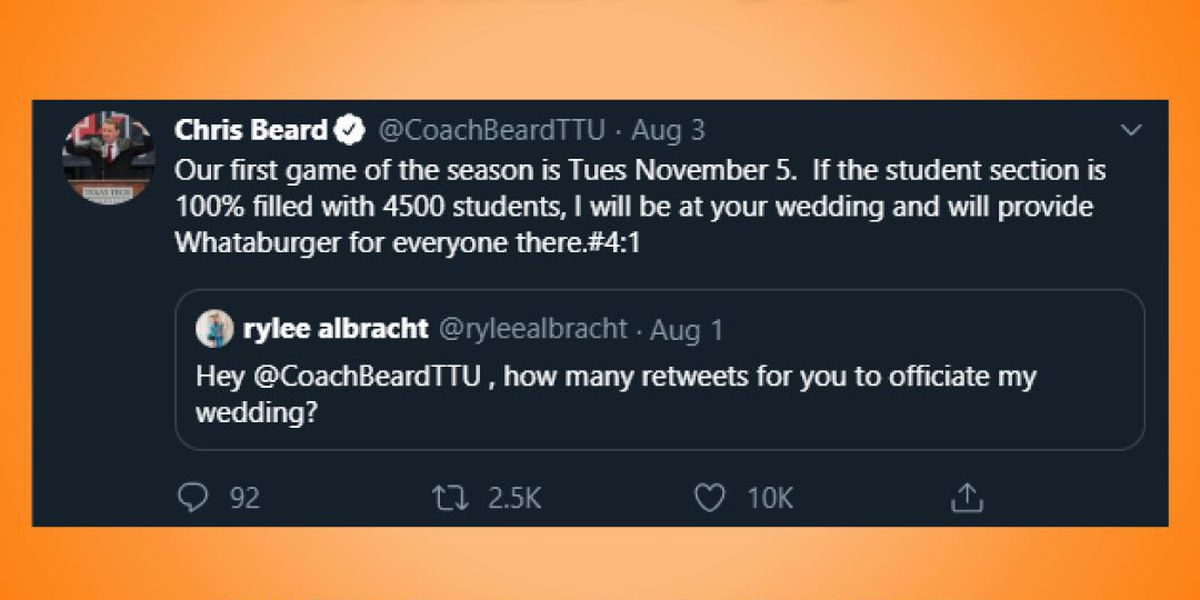 Whataburger attempts to get Chris Beard at fan's wedding