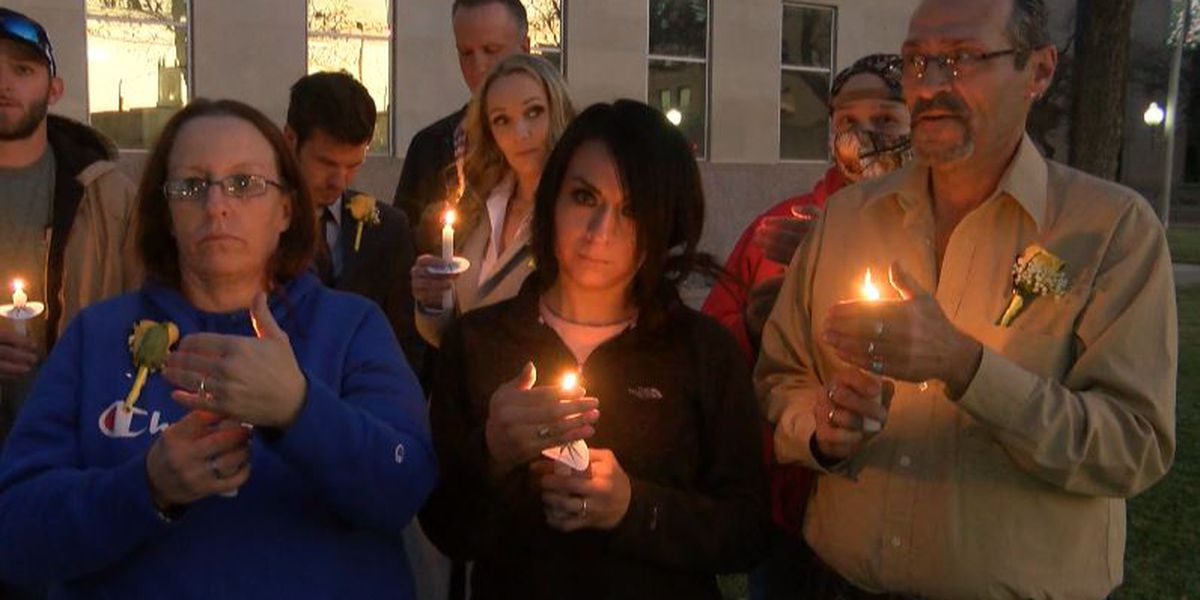 Drug Court participants honor Judge Ruben Reyes with candlelight vigil outside Lubbock County Courthouse