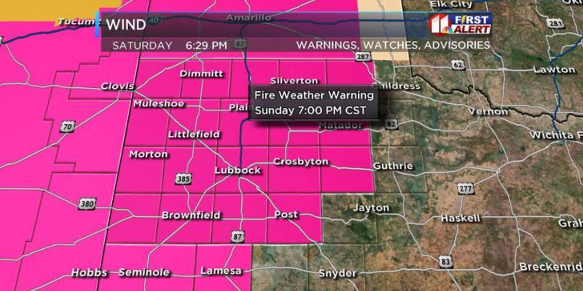 High fire dangers Sunday, Windy and colder Monday