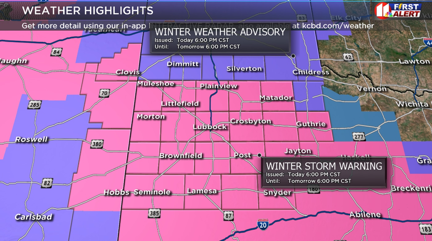 A WINTER STORM WARNING, issued by the National Weather Service, is in effect for most of the KCBD viewing area.