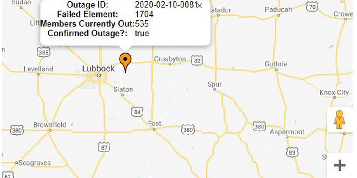 Power outage caused by vehicle crash in East Lubbock County