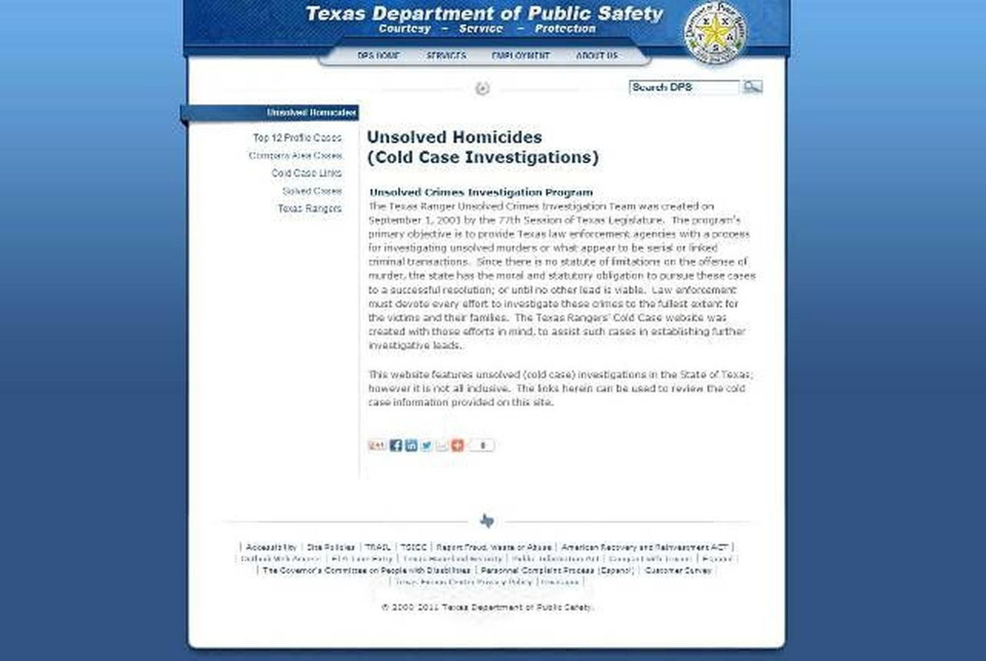 New DPS webpage highlights unsolved murders