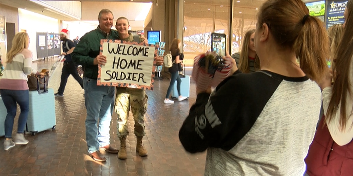 Family and friends surprise soldier returning home for the holidays