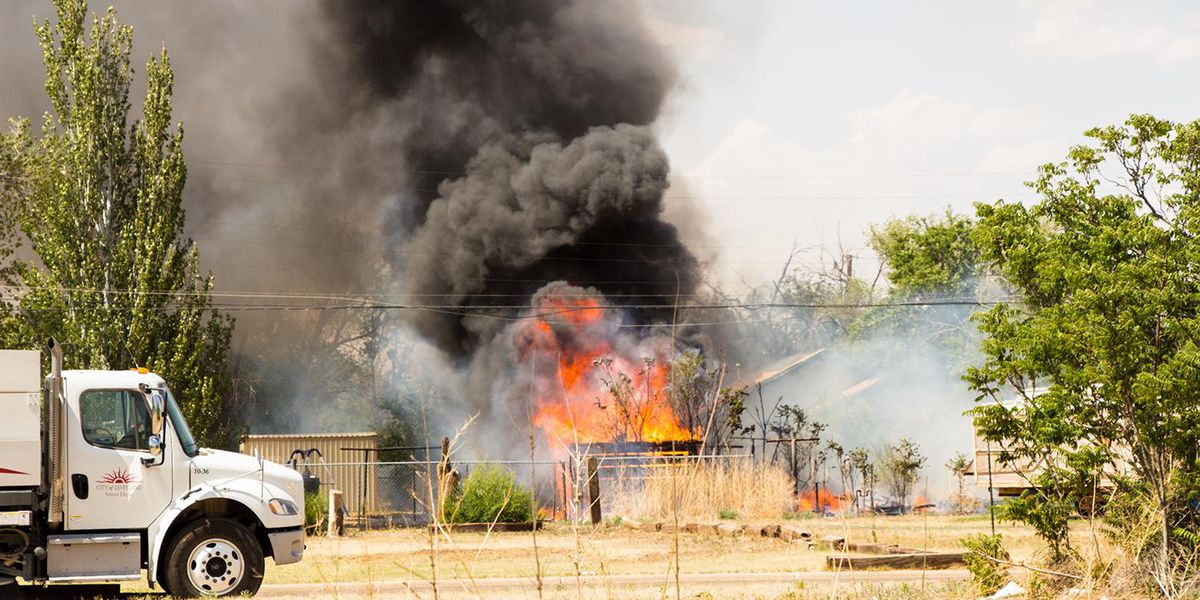 Levelland Fire Department fighting fire at Martin Luther King Boulevard and Jefferson Street