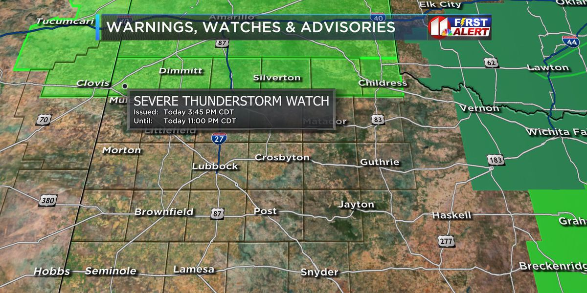 Severe Thunderstorm Watch continues through 11 p.m. Sunday