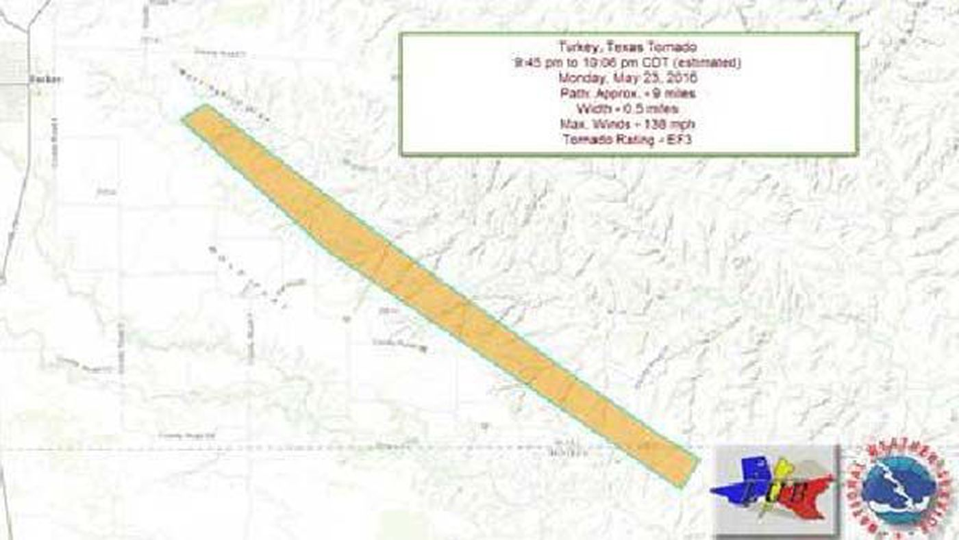 National Weather Service: Turkey, TX tornado was EF-3, winds reached
