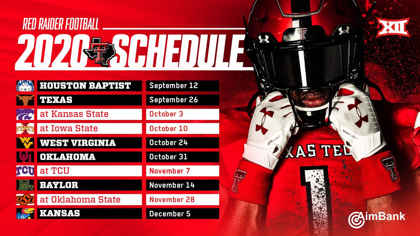 Texas Tech football schedule released, Big 12 opener against the