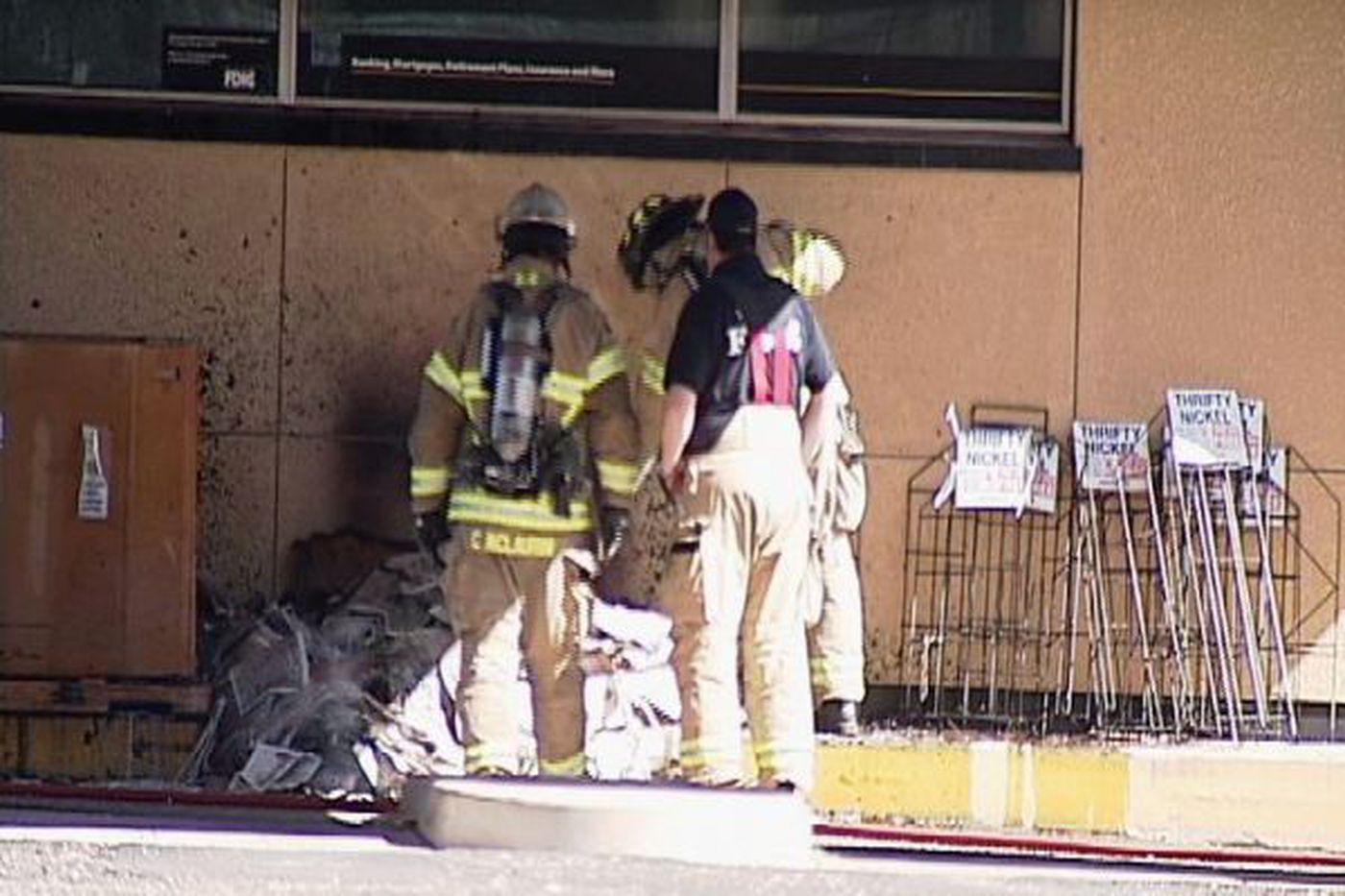Officials respond to recycling bin fire at Thrifty Nickel