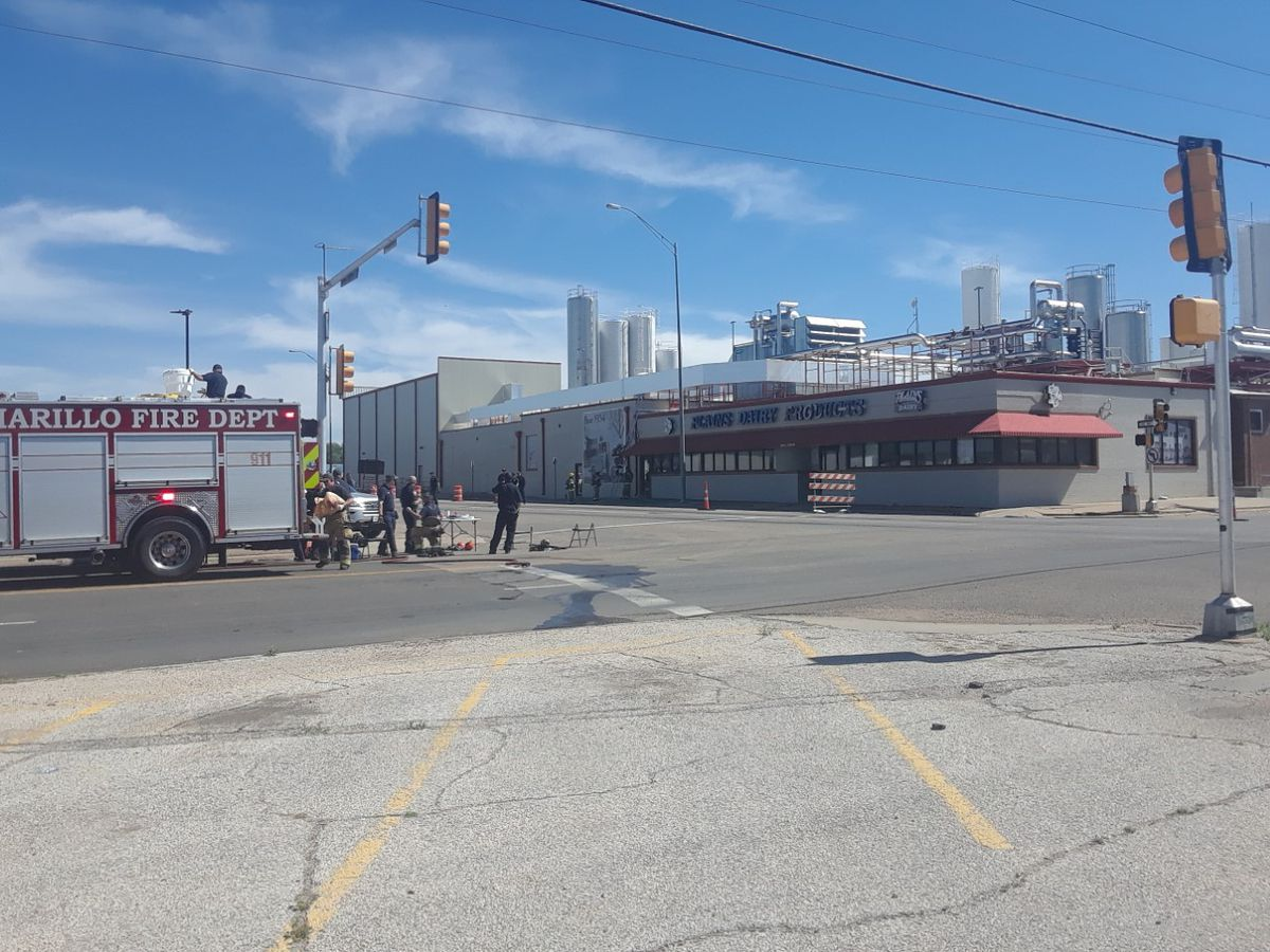 Amarillo Fire Department working hazmat situation at Plains Dairy