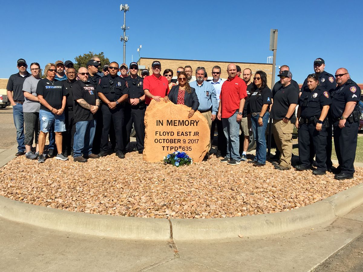 Memorial dedicated to fallen Texas Tech Police Officer Floyd East, Jr.