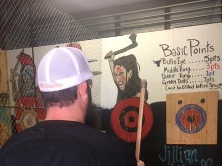 I Beat Pete: Axe throwing