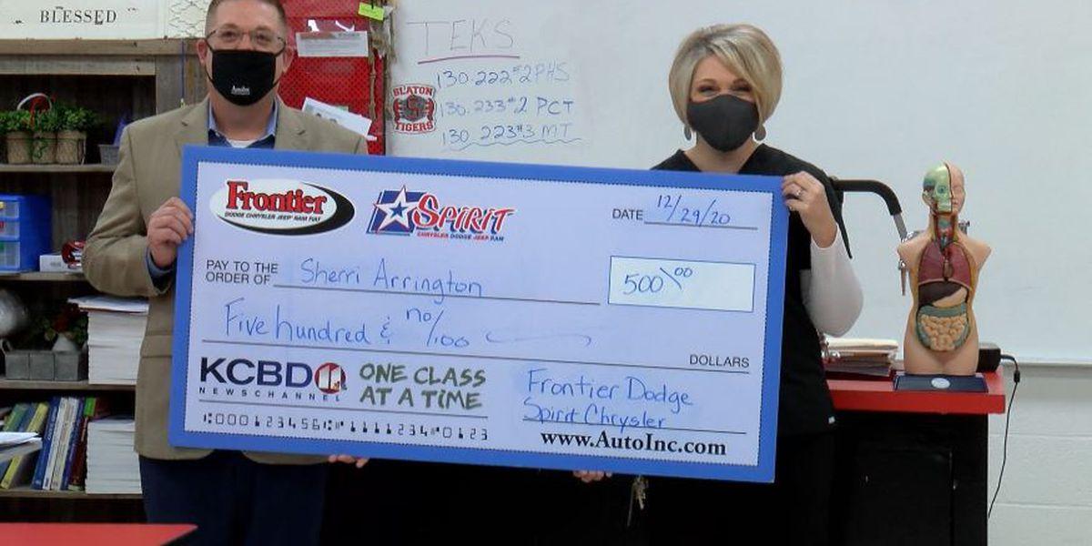 One Class At A Time: Slaton High School nurse, Santa Red & Blue awarded $500