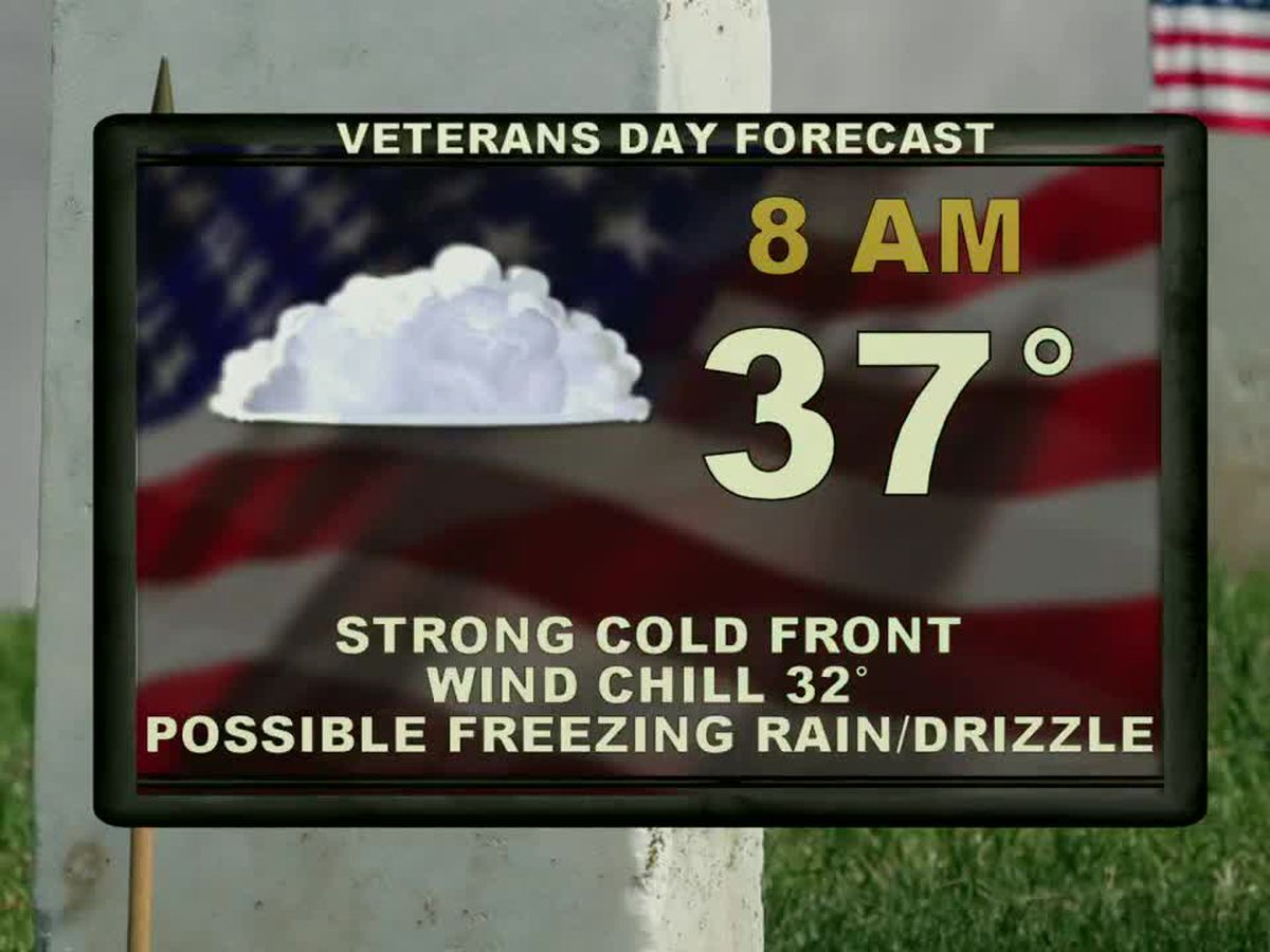 Arctic cold front expected overnight, much colder Monday