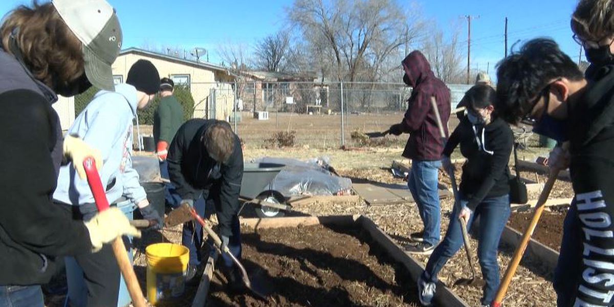 Big group volunteers at East Lubbock garden on MLK service day